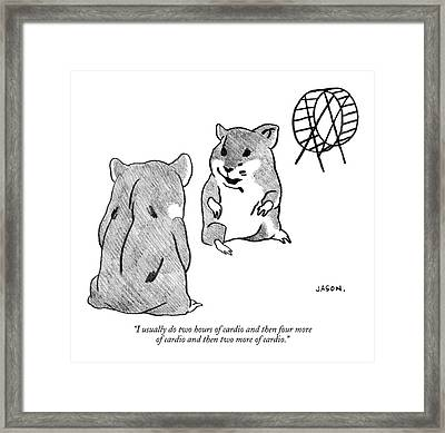 One Gerbil To Another Framed Print by Jason Polan