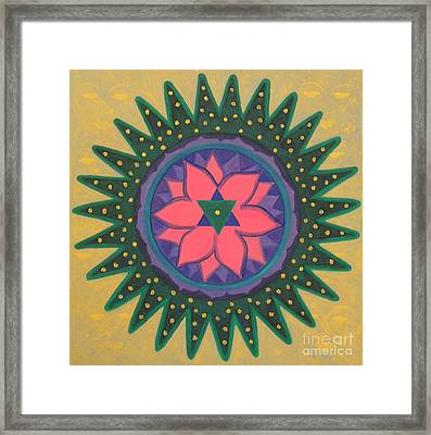 Framed Print featuring the painting One Gold Bindu by Mini Arora