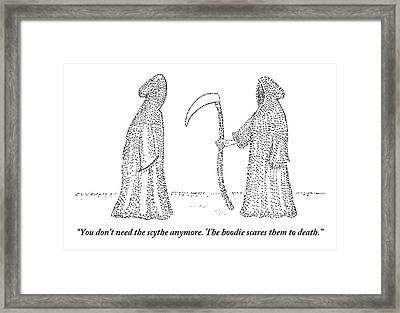 One Grim Reaper Says To Another Framed Print