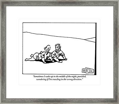 One Haggard Man Addresses Another As They Both Framed Print