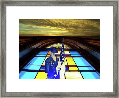 One Last Battle Union Soldier Stained Glass Window Digital Art Framed Print by Thomas Woolworth