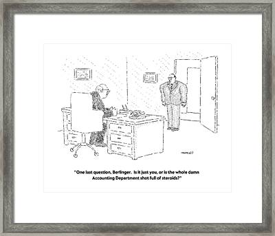 One Last Question Framed Print by Robert Mankoff