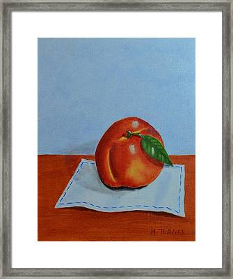 One Leaf Peach Framed Print