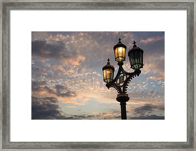 One Light Out - Westminster Bridge Streetlights - River Thames In London Uk Framed Print by Georgia Mizuleva