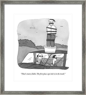 One Mafioso In A Car Speaks To Another Framed Print