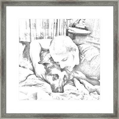 One Man And His Dog :-) Framed Print