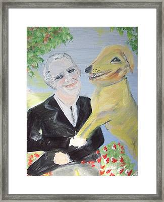 Framed Print featuring the painting One Man And His Dog by Judith Desrosiers