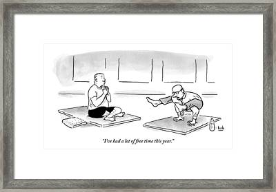 One Man In A Difficult Yoga Position Wearing Framed Print by Bob Eckstein
