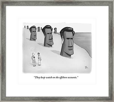 One Man Speaks To Another As They Stand In Front Framed Print