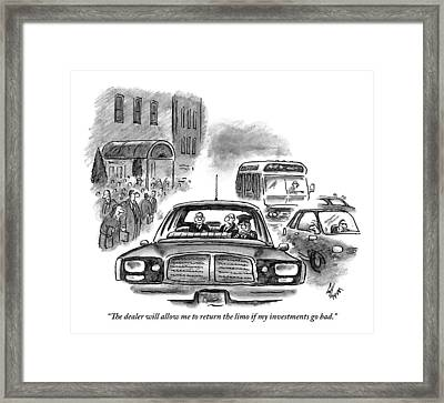 One Man Speaks To Another In The Back Framed Print