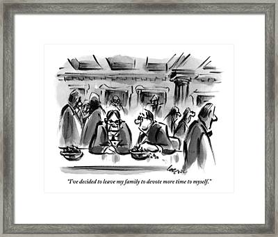 One Man Talks To Another At A Table In What Framed Print