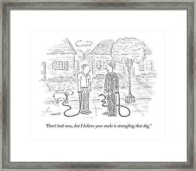 One Man Walks A Dog Framed Print