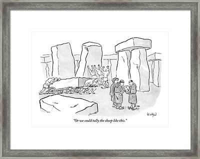 One Mans Shows A Stone Tablet With Tally Marks Framed Print by Robert Leighton