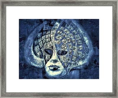 One Mask  - Blue  Framed Print