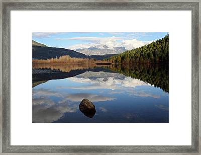 One Mile Lake One Rock Reflection Pemberton B.c Canada Framed Print by Pierre Leclerc Photography