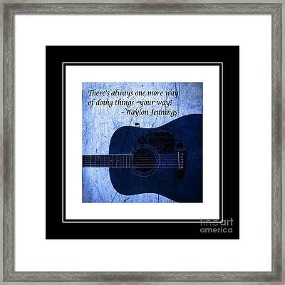 One More Way - Waylon Jennings Framed Print by Barbara Griffin