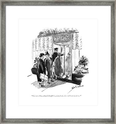 One Nice Thing About Schrafft's Framed Print by Helen E. Hokinson