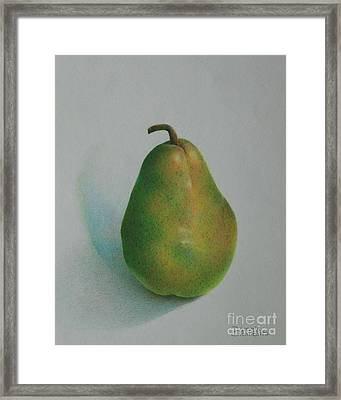 Framed Print featuring the painting One Of A Pear by Pamela Clements