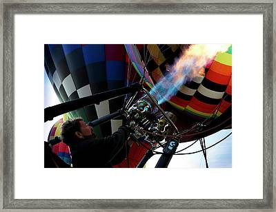 One Of Many Balloons Being Prepared Framed Print by Maresa Pryor