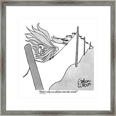 One Of Many Birds On An Electrical Wire Counsels Framed Print