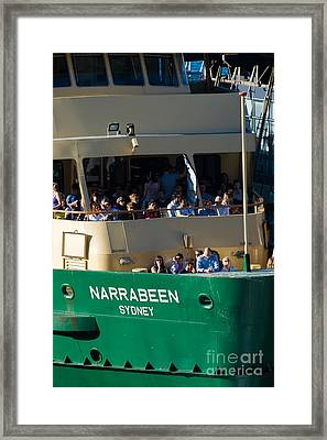 One Of The Iconic Manly Ferries Arrives At Circular Quay In Sydney Full Of Happy Tourists Framed Print