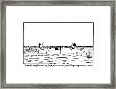 One Of Two Haggard Men In A Lifeboat Addresses Framed Print