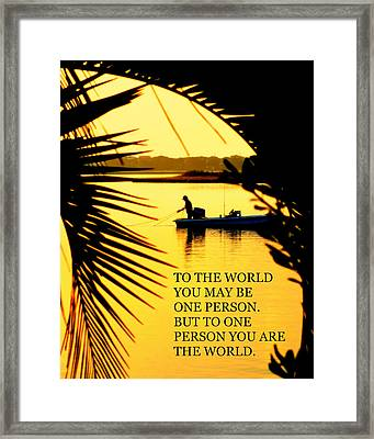 One Person Framed Print by Karen Wiles