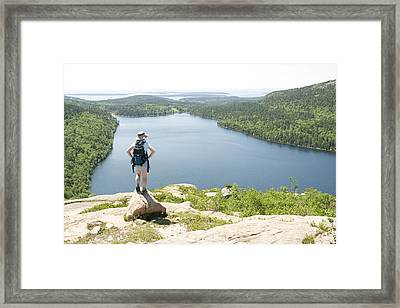 One Person Looks At The View Framed Print