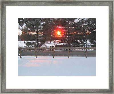 One Rare Winter Sunset Framed Print by Tina M Wenger