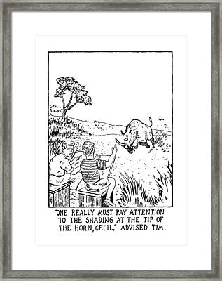 One Really Must Pay Attension To The Shading Framed Print by Glen Baxter