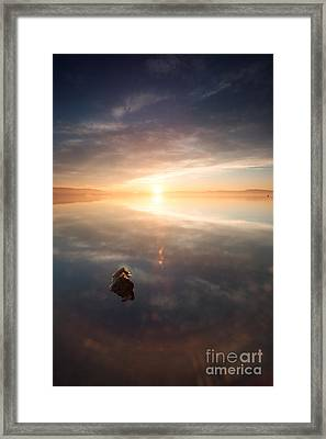 One Rock In The Lake At Sunrise Framed Print by Matteo Colombo