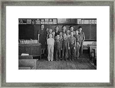 One-room Country School - Group Of Students With Teacher - North Framed Print by Donald  Erickson