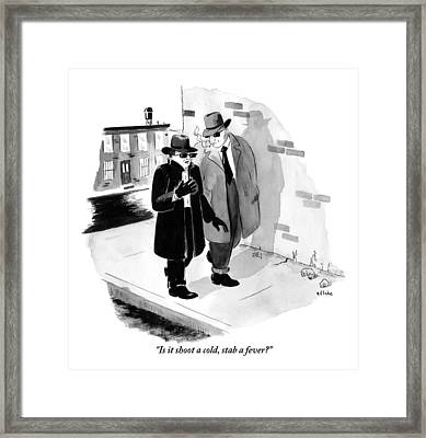 One Shady-looking Man Wearing A Black Overcoat Framed Print