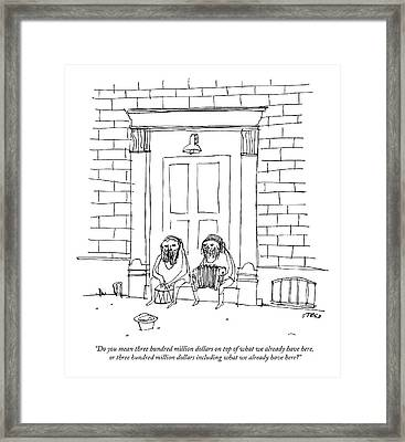 One Sitting Homeless Man Speaks To Another Framed Print