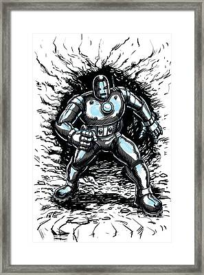 One Small Step For Iron Man Framed Print