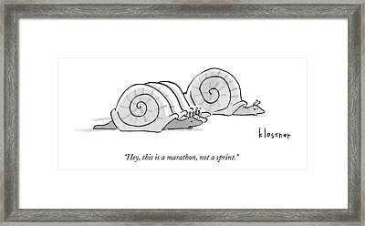 One Snail Pulls Slightly Ahead Of A Few Other Framed Print by John  Klossner