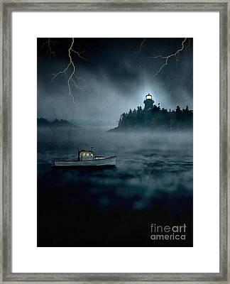 One Stormy Night In Maine Framed Print by Edward Fielding