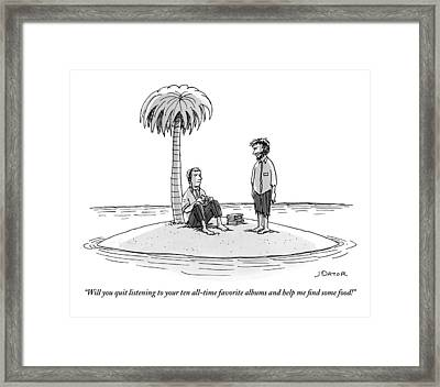 One Stranded Castaway To Another Framed Print by Joe Dator
