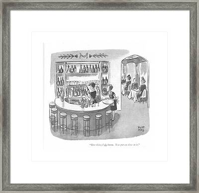 One Thing I Do Know. You Put An Olive In It Framed Print