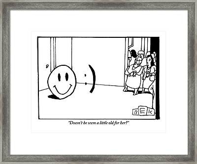 One Traditional Smiley Face Standing Next To An Framed Print by Bruce Eric Kaplan