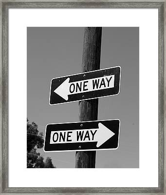 One Way Or Another - Confusing Road Signs Framed Print
