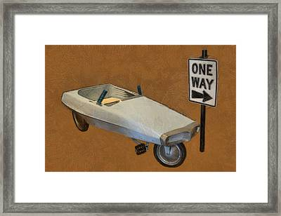 One Way Pedal Car Framed Print by Michelle Calkins