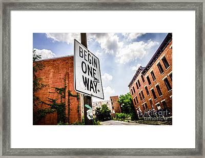 One Way Sign At Glencoe-auburn Place In Cincinnati Framed Print by Paul Velgos