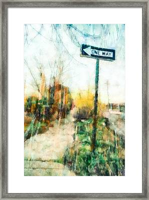 One Way Sign Framed Print