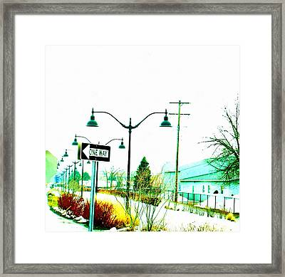 One Way Ticket Railroad Depot Stop Framed Print by Rosemarie E Seppala