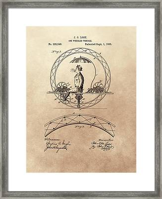 One Wheeled Vehicle Patent 1885 Framed Print by Dan Sproul