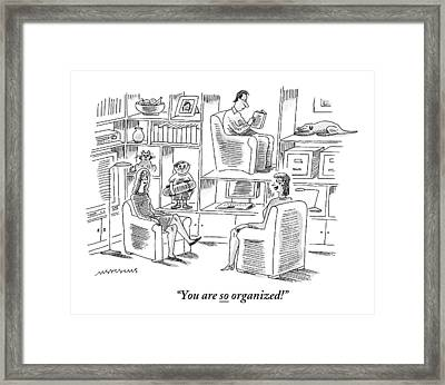 One Woman Compliments Another Who Has Stored Framed Print