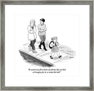 One Woman To Another As They Walk Down The Street Framed Print by Emily Flake