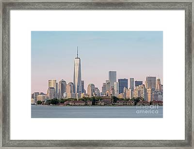 One World Trade Center And Ellis Island 2 Framed Print by Susan Candelario