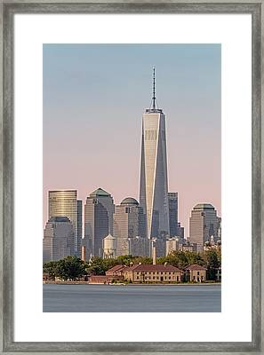 One World Trade Center And Ellis Island Framed Print by Susan Candelario